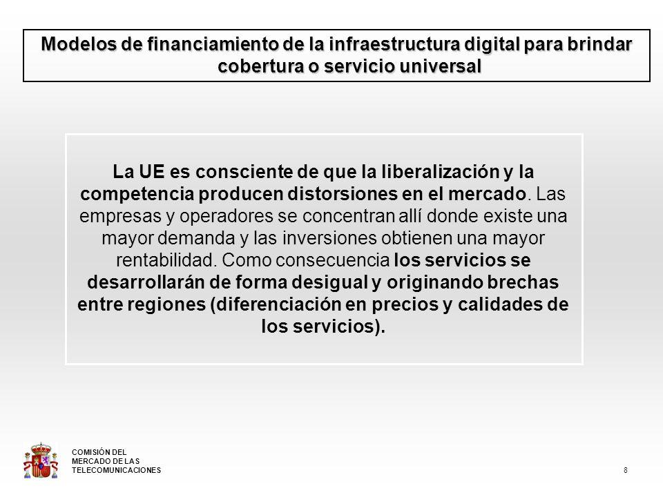 Modelos de financiamiento de la infraestructura digital para brindar cobertura o servicio universal Conscientes de esta realidad, la UE hace un énfasis especial en el Servicio Universal, hasta el punto de que en la segunda revisión del Marco Regulatorio, dedica una DIRECTIVA ESPECÍFICA a este servicio: La Directiva del Servicio Universal.
