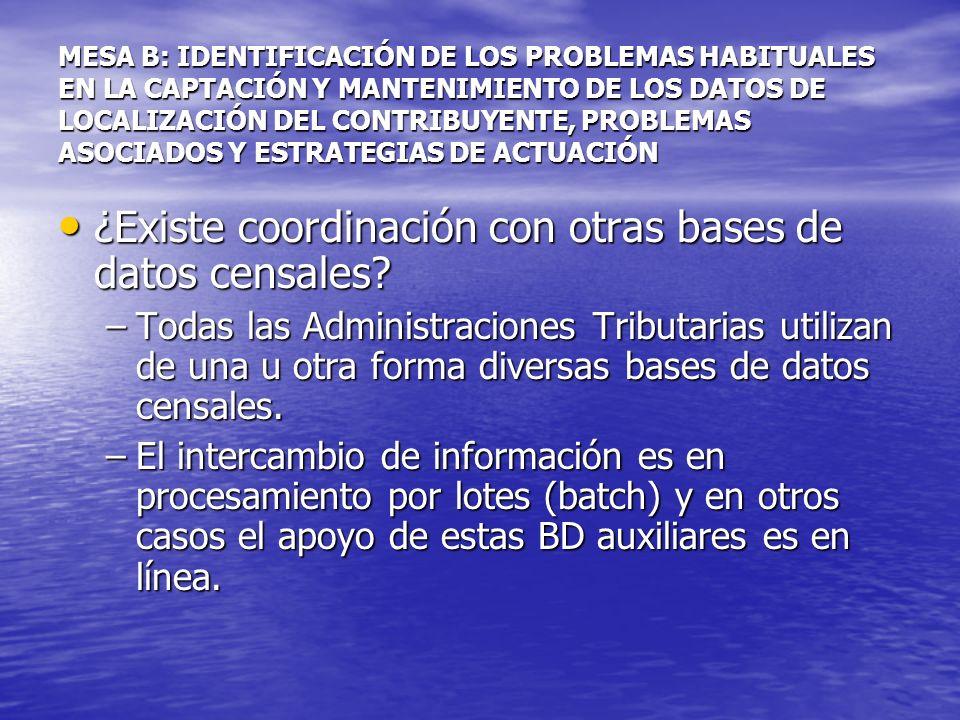 MESA B: IDENTIFICACIÓN DE LOS PROBLEMAS HABITUALES EN LA CAPTACIÓN Y MANTENIMIENTO DE LOS DATOS DE LOCALIZACIÓN DEL CONTRIBUYENTE, PROBLEMAS ASOCIADOS Y ESTRATEGIAS DE ACTUACIÓN ¿Existe coordinación con otras bases de datos censales.