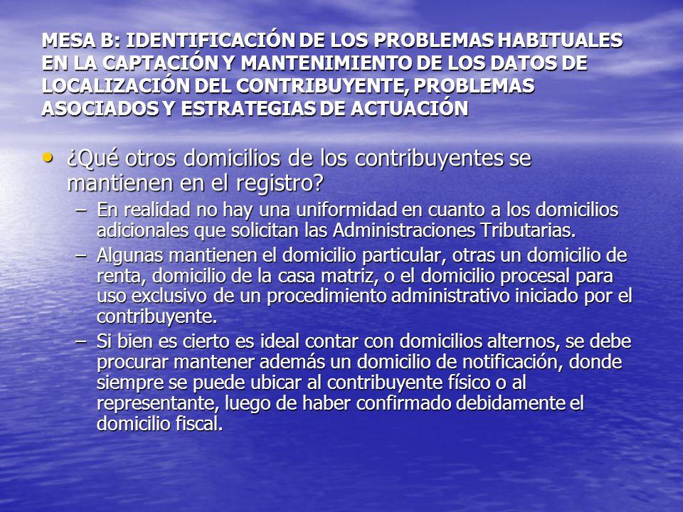 MESA B: IDENTIFICACIÓN DE LOS PROBLEMAS HABITUALES EN LA CAPTACIÓN Y MANTENIMIENTO DE LOS DATOS DE LOCALIZACIÓN DEL CONTRIBUYENTE, PROBLEMAS ASOCIADOS Y ESTRATEGIAS DE ACTUACIÓN ¿Qué otros domicilios de los contribuyentes se mantienen en el registro.