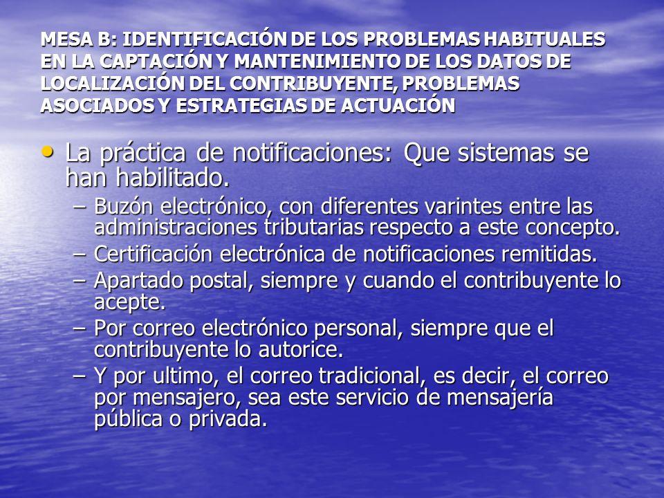 MESA B: IDENTIFICACIÓN DE LOS PROBLEMAS HABITUALES EN LA CAPTACIÓN Y MANTENIMIENTO DE LOS DATOS DE LOCALIZACIÓN DEL CONTRIBUYENTE, PROBLEMAS ASOCIADOS Y ESTRATEGIAS DE ACTUACIÓN La práctica de notificaciones: Que sistemas se han habilitado.