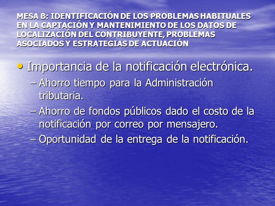 MESA B: IDENTIFICACIÓN DE LOS PROBLEMAS HABITUALES EN LA CAPTACIÓN Y MANTENIMIENTO DE LOS DATOS DE LOCALIZACIÓN DEL CONTRIBUYENTE, PROBLEMAS ASOCIADOS Y ESTRATEGIAS DE ACTUACIÓN Magnitud y efectos de la no notificación.