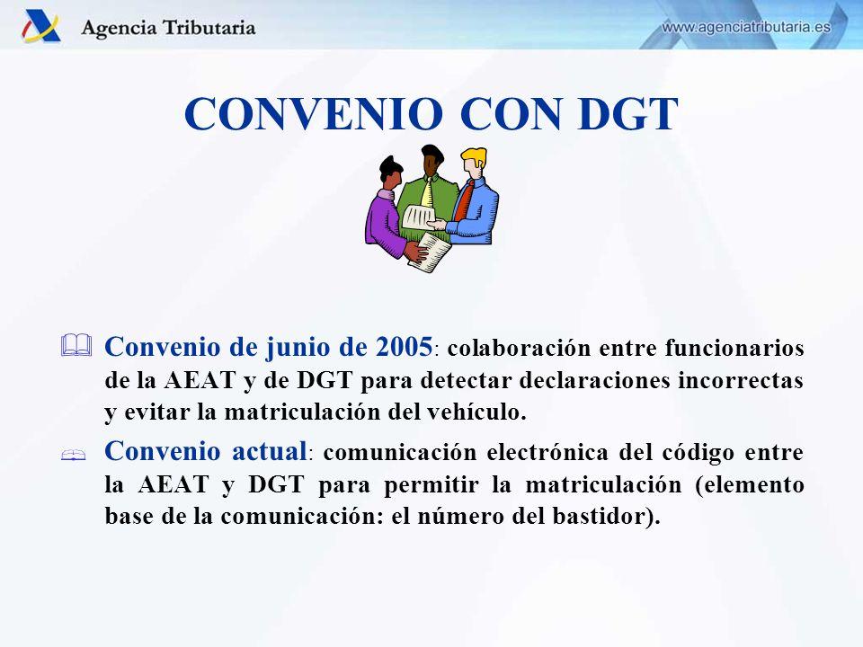 CONVENIO CON DGT Convenio de junio de 2005 : colaboración entre funcionarios de la AEAT y de DGT para detectar declaraciones incorrectas y evitar la m
