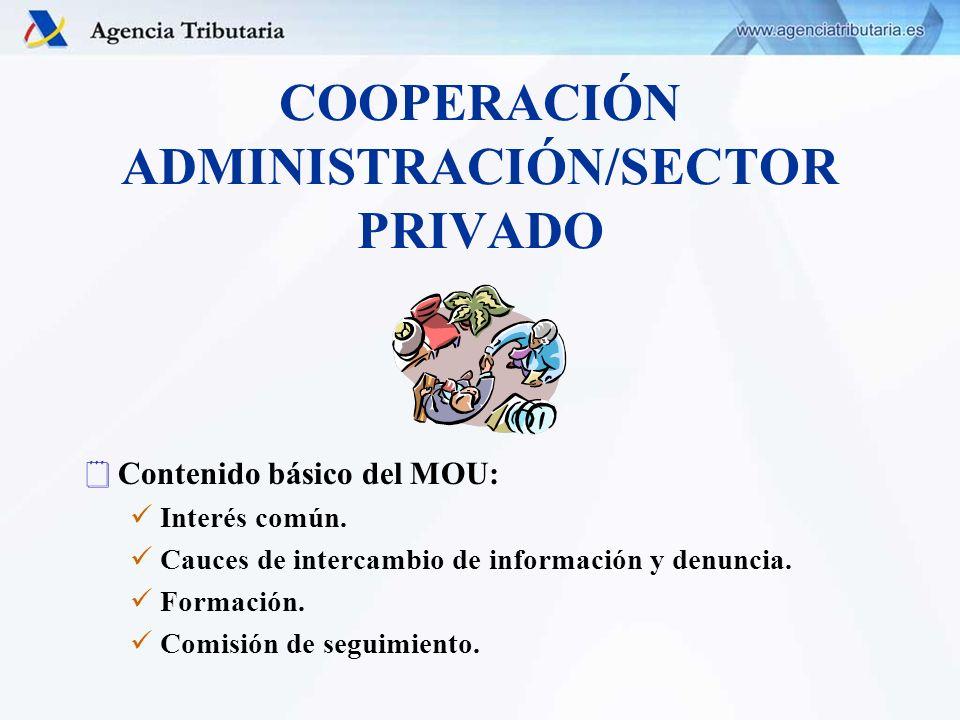 COOPERACIÓN ADMINISTRACIÓN/SECTOR PRIVADO Contenido básico del MOU: Interés común. Cauces de intercambio de información y denuncia. Formación. Comisió