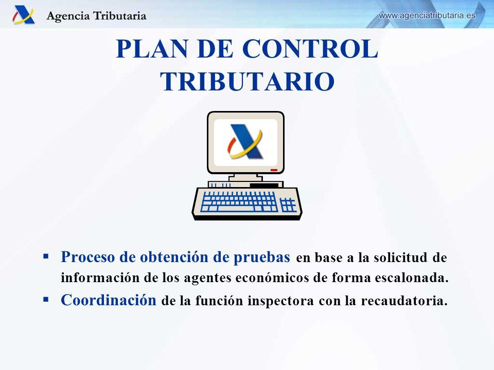 PLAN DE CONTROL TRIBUTARIO Proceso de obtención de pruebas en base a la solicitud de información de los agentes económicos de forma escalonada. Coordi