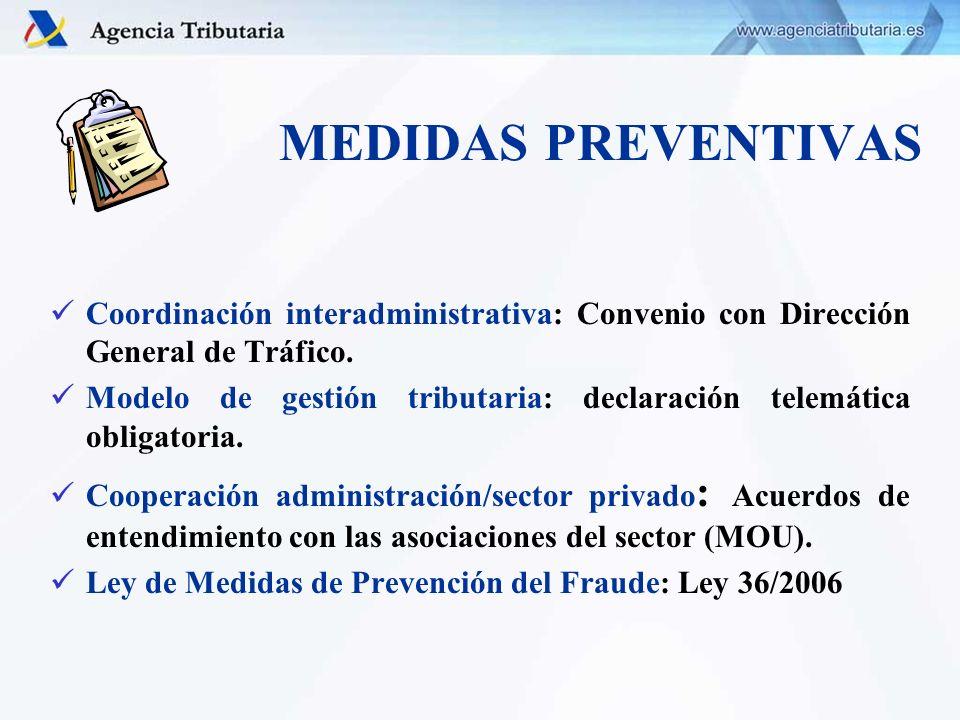 MEDIDAS PREVENTIVAS Coordinación interadministrativa: Convenio con Dirección General de Tráfico. Modelo de gestión tributaria: declaración telemática