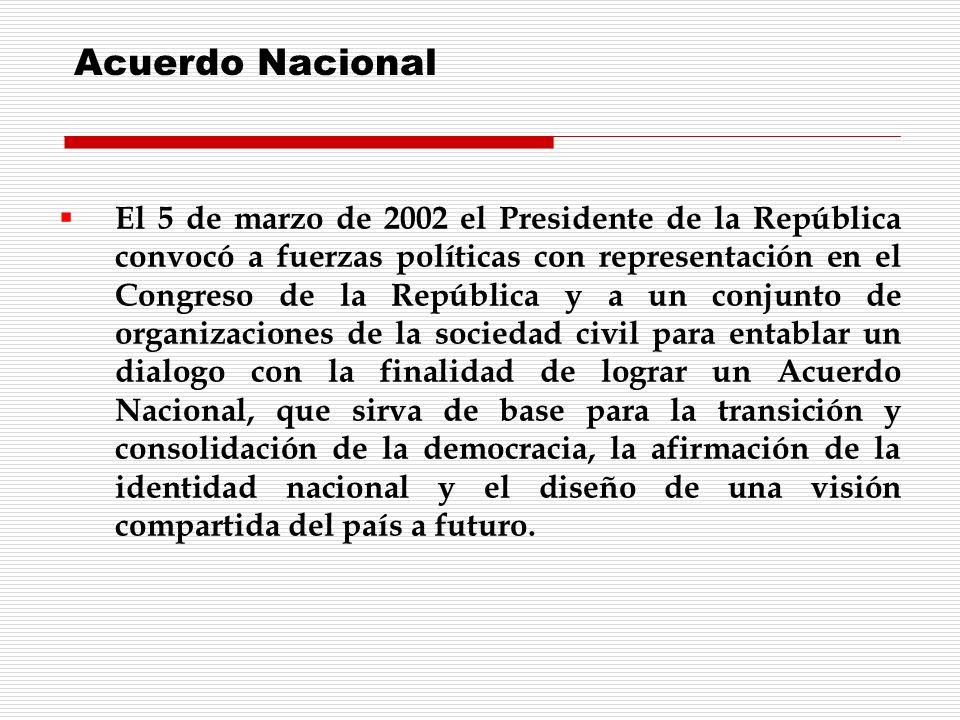 El 5 de marzo de 2002 el Presidente de la República convocó a fuerzas políticas con representación en el Congreso de la República y a un conjunto de o