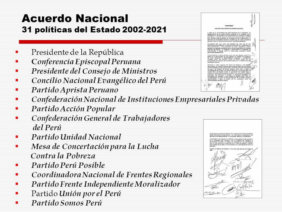 Presidente de la República C onferencia Episcopal Peruana Presidente del Consejo de Ministros Concilio Nacional Evangélico del Perú Partido Aprista Pe