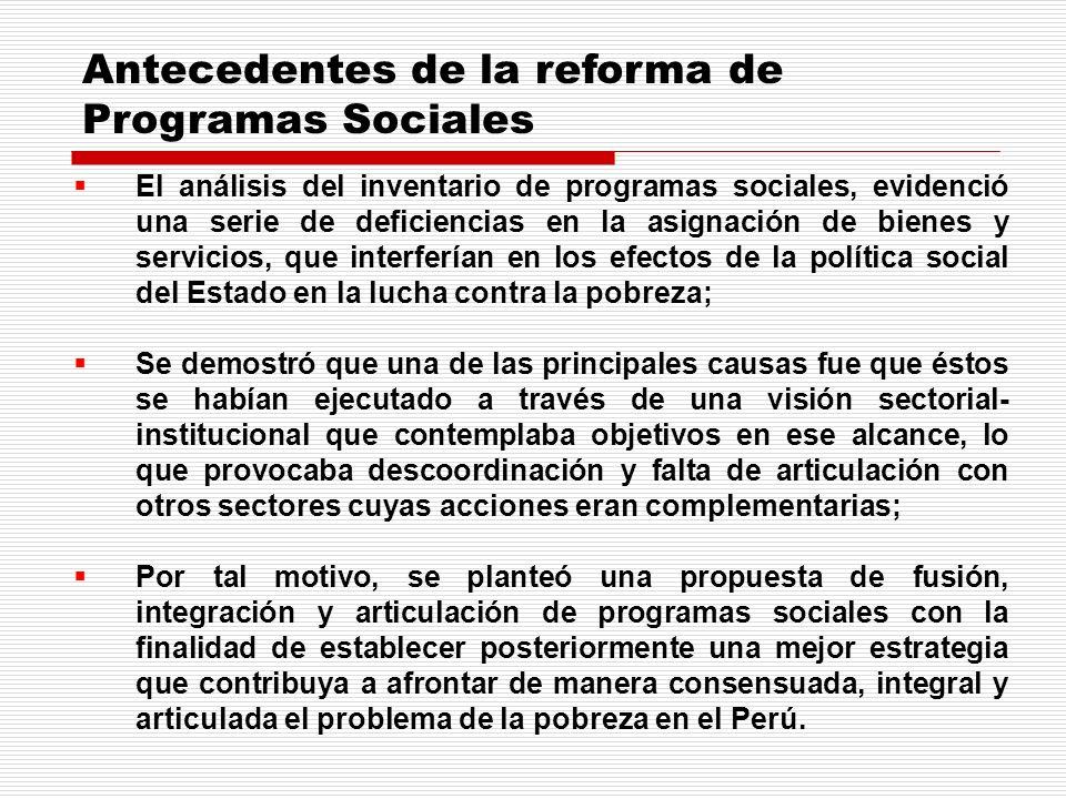 El análisis del inventario de programas sociales, evidenció una serie de deficiencias en la asignación de bienes y servicios, que interferían en los e