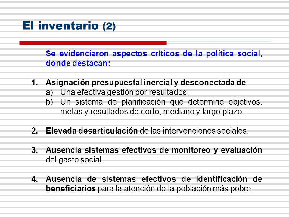 Se evidenciaron aspectos críticos de la política social, donde destacan: 1.Asignación presupuestal inercial y desconectada de: a)Una efectiva gestión