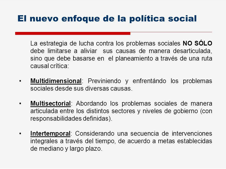 La estrategia de lucha contra los problemas sociales NO SÓLO debe limitarse a aliviar sus causas de manera desarticulada, sino que debe basarse en el