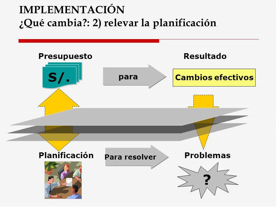 IMPLEMENTACIÓN ¿Qué cambia?: 2) relevar la planificación S/. PresupuestoResultado para PlanificaciónProblemas Para resolver ? Cambios efectivos