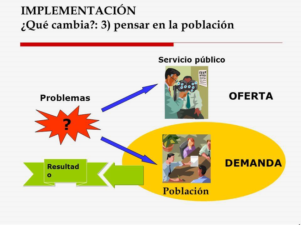 IMPLEMENTACIÓN ¿Qué cambia?: 3) pensar en la población Resultad o 45 Problemas ? Servicio público OFERTA DEMANDA Población
