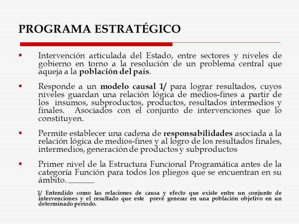 Intervención articulada del Estado, entre sectores y niveles de gobierno en torno a la resolución de un problema central que aqueja a la población del