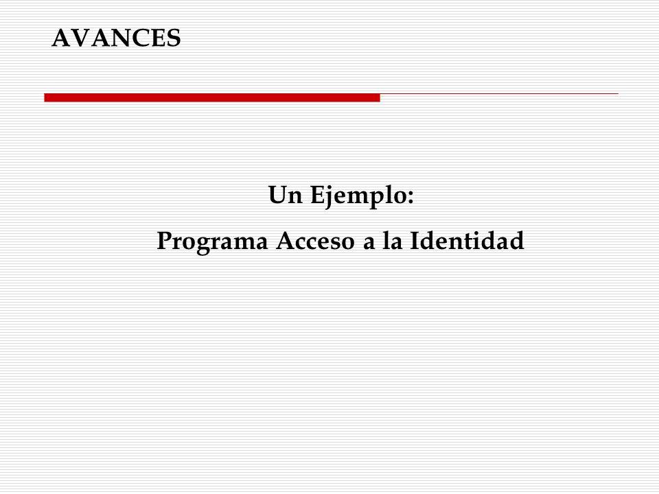 Un Ejemplo: Programa Acceso a la Identidad AVANCES