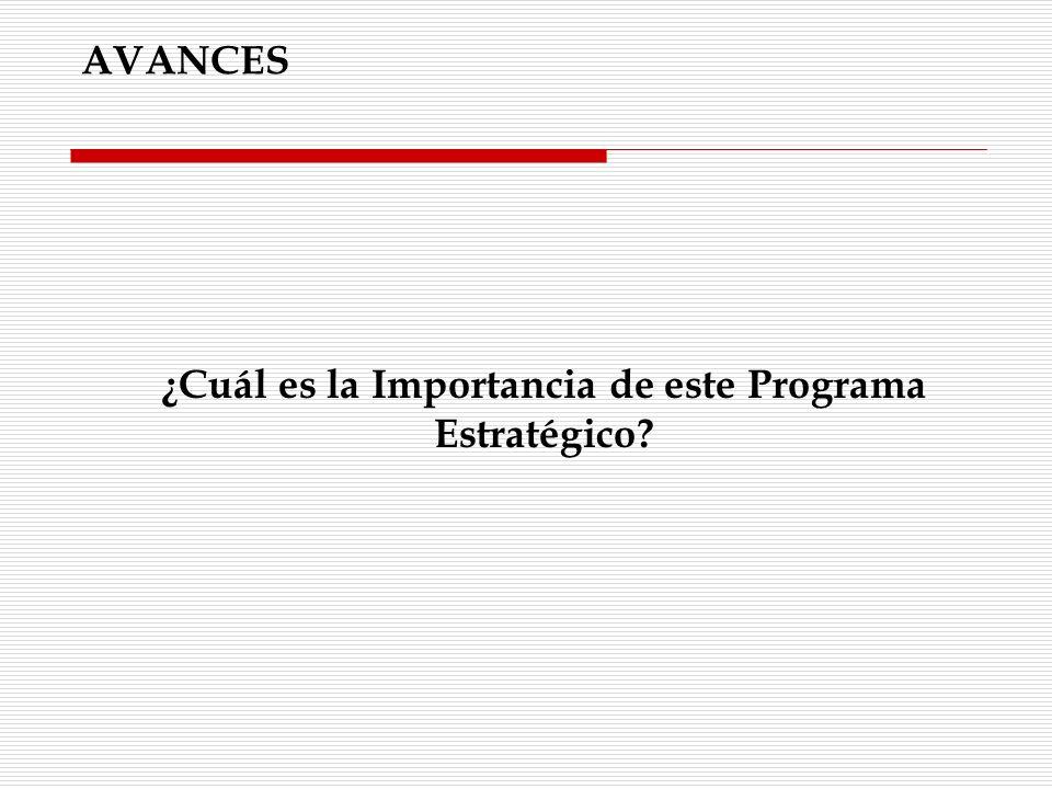 ¿Cuál es la Importancia de este Programa Estratégico? AVANCES