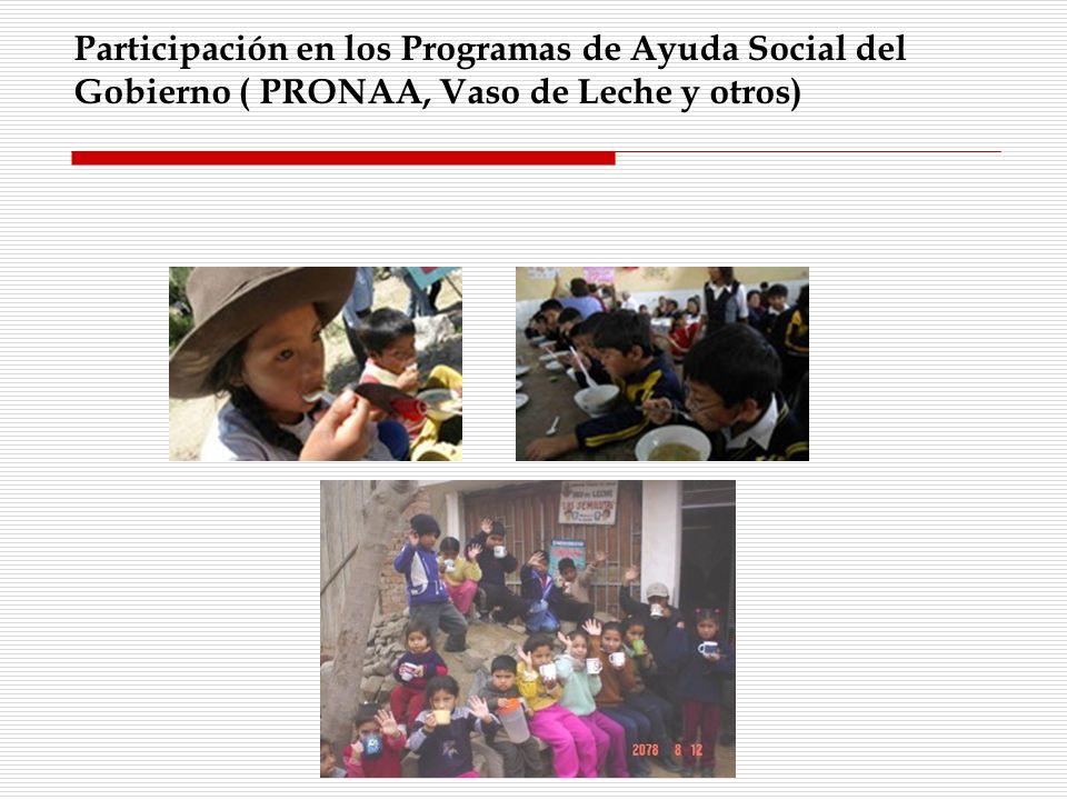 Participación en los Programas de Ayuda Social del Gobierno ( PRONAA, Vaso de Leche y otros)