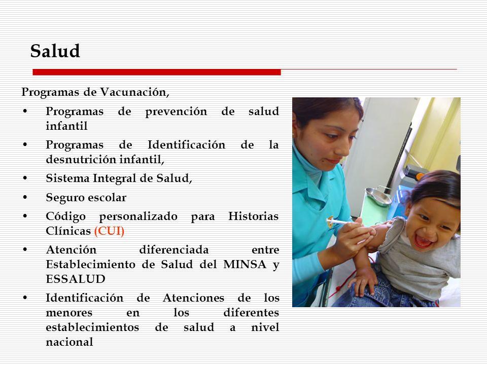Programas de Vacunación, Programas de prevención de salud infantil Programas de Identificación de la desnutrición infantil, Sistema Integral de Salud,