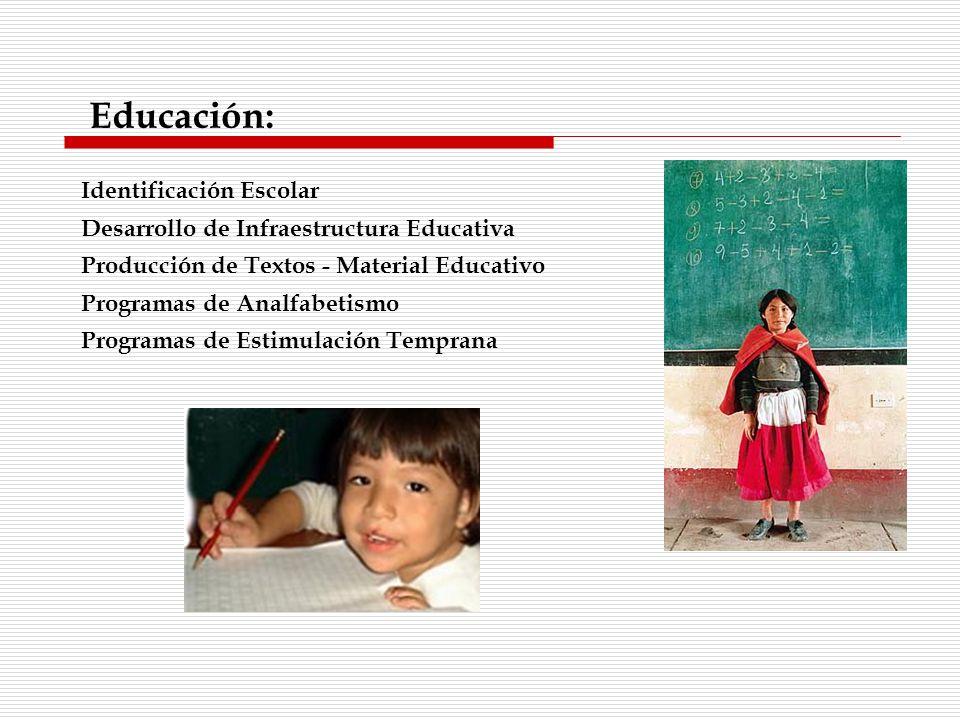 Identificación Escolar Desarrollo de Infraestructura Educativa Producción de Textos - Material Educativo Programas de Analfabetismo Programas de Estim
