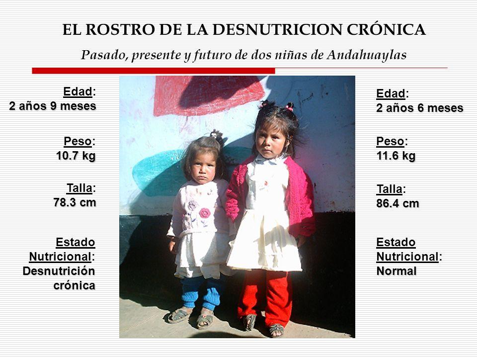 Edad: 2 años 9 meses Estado Nutricional: Desnutrición crónica Estado Nutricional:Normal EL ROSTRO DE LA DESNUTRICION CRÓNICA Pasado, presente y futuro