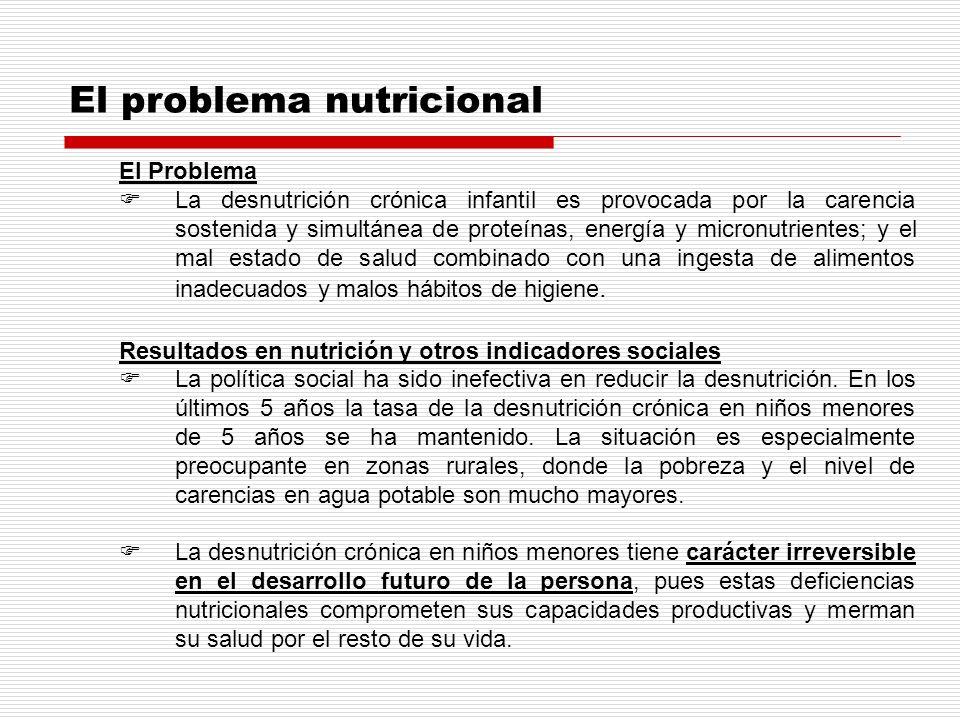 El problema nutricional El Problema La desnutrición crónica infantil es provocada por la carencia sostenida y simultánea de proteínas, energía y micro