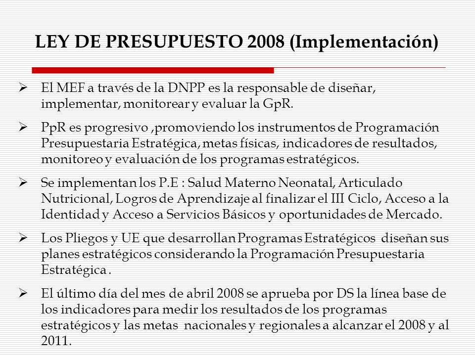 LEY DE PRESUPUESTO 2008 (Implementación) El MEF a través de la DNPP es la responsable de diseñar, implementar, monitorear y evaluar la GpR. PpR es pro