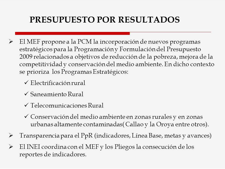 PRESUPUESTO POR RESULTADOS El MEF propone a la PCM la incorporación de nuevos programas estratégicos para la Programación y Formulación del Presupuest