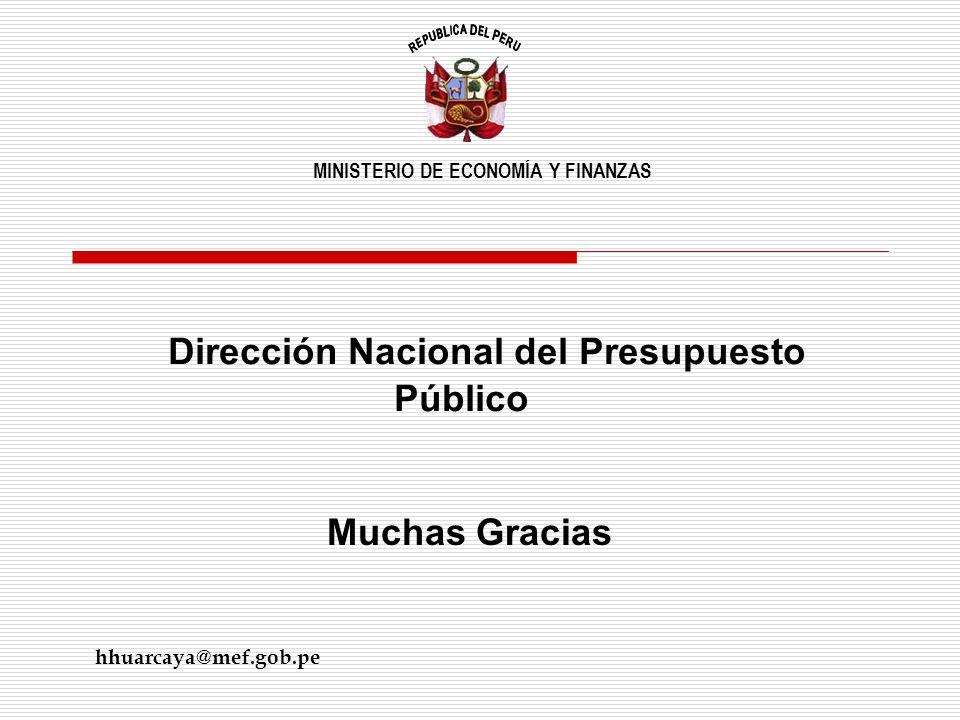 Muchas Gracias Dirección Nacional del Presupuesto Público MINISTERIO DE ECONOMÍA Y FINANZAS hhuarcaya@mef.gob.pe