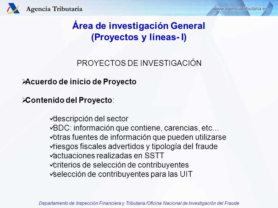 Departamento de Inspección Financiera y Tributaria /Oficina Nacional de Investigación del Fraude Área de investigación General (Proyectos y líneas- I) PROYECTOS DE INVESTIGACIÓN Acuerdo de inicio de Proyecto Contenido del Proyecto: descripción del sector BDC: información que contiene, carencias, etc...