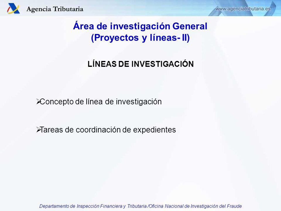 Departamento de Inspección Financiera y Tributaria /Oficina Nacional de Investigación del Fraude Área de investigación General (Proyectos y líneas- II) LÍNEAS DE INVESTIGACIÓN Concepto de línea de investigación Tareas de coordinación de expedientes