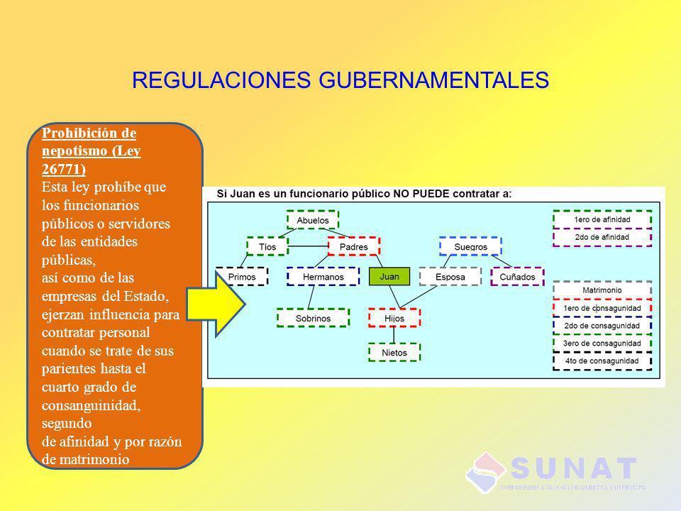REGULACIONES GUBERNAMENTALES Prohibición de nepotismo (Ley 26771) Esta ley prohíbe que los funcionarios públicos o servidores de las entidades pública