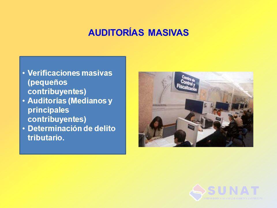 AUDITORÍAS MASIVAS Verificaciones masivas (pequeños contribuyentes) Auditorías (Medianos y principales contribuyentes) Determinación de delito tributa