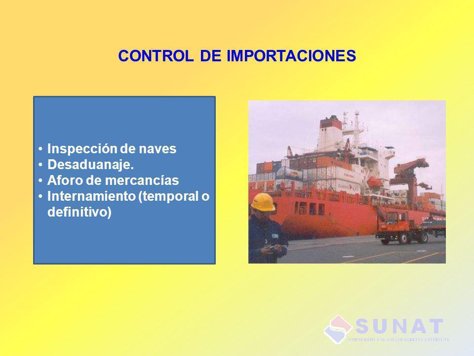 CONTROL DE IMPORTACIONES Inspección de naves Desaduanaje. Aforo de mercancías Internamiento (temporal o definitivo)