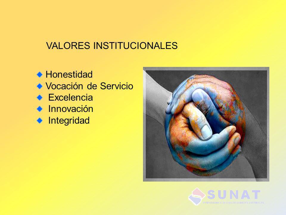 VALORES INSTITUCIONALES Honestidad Vocación de Servicio Excelencia Innovación Integridad