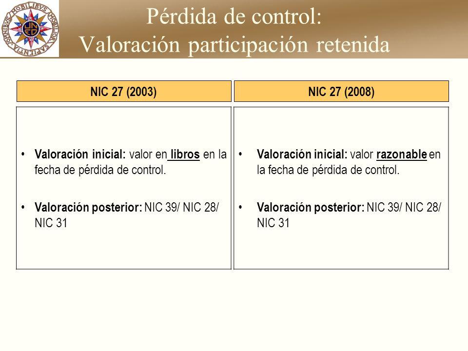 Pérdida de control: Valoración participación retenida Valoración inicial: valor en libros en la fecha de pérdida de control. Valoración posterior: NIC