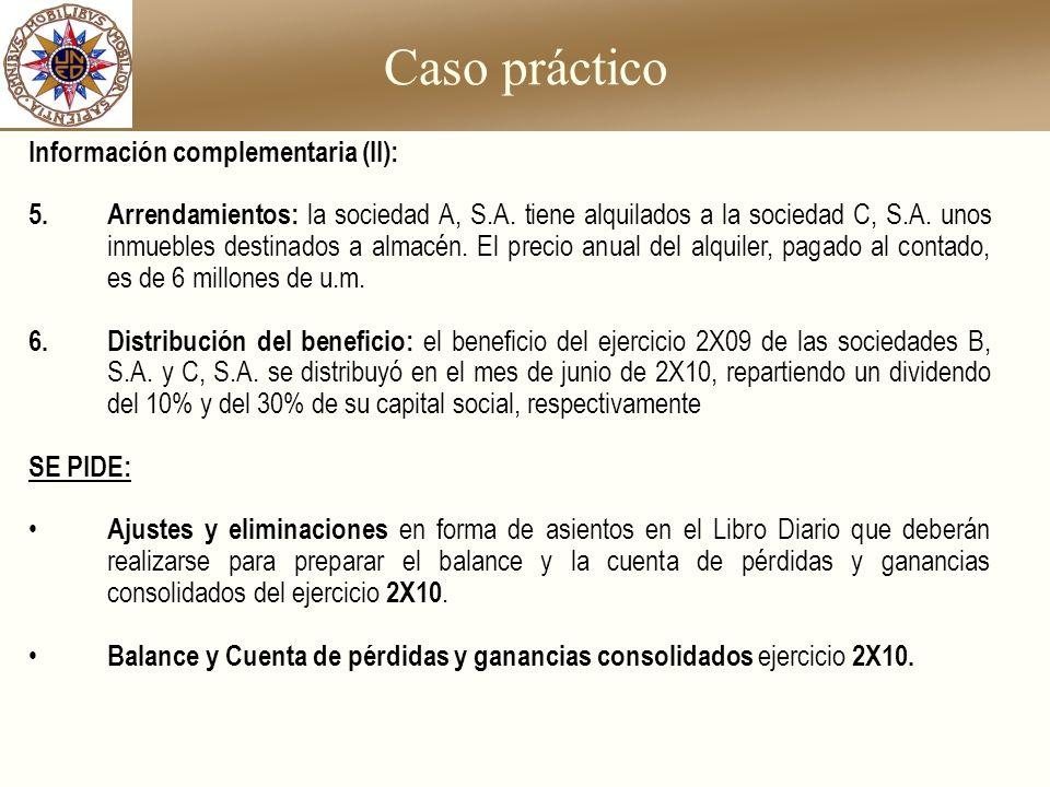 Caso práctico Información complementaria (II): 5.Arrendamientos: la sociedad A, S.A. tiene alquilados a la sociedad C, S.A. unos inmuebles destinados