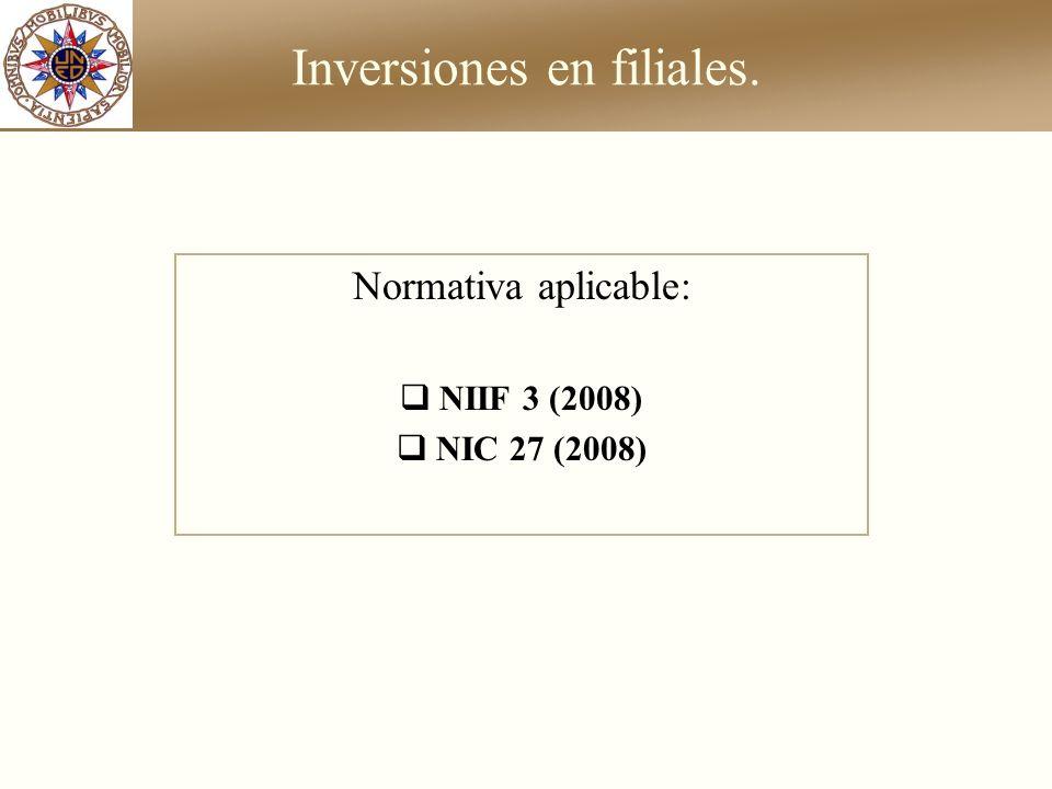 Inversiones en filiales. Normativa aplicable: NIIF 3 (2008) NIC 27 (2008)