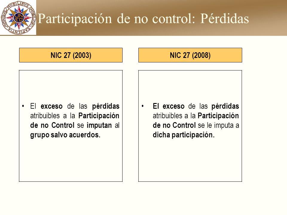 Participación de no control: Pérdidas El exceso de las pérdidas atribuibles a la Participación de no Control se imputan al grupo salvo acuerdos. NIC 2