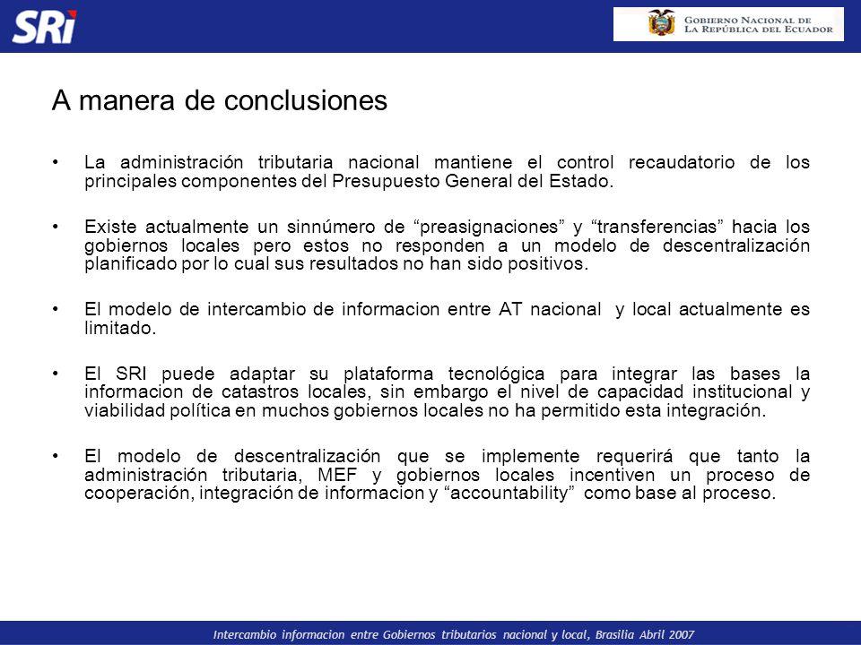 Intercambio informacion entre Gobiernos tributarios nacional y local, Brasilia Abril 2007 A manera de conclusiones La administración tributaria nacion