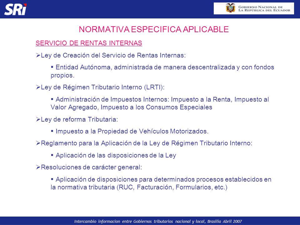 Intercambio informacion entre Gobiernos tributarios nacional y local, Brasilia Abril 2007 NORMATIVA ESPECIFICA APLICABLE SERVICIO DE RENTAS INTERNAS L