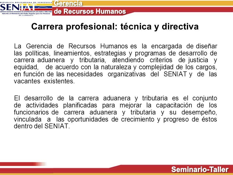 Carrera profesional: técnica y directiva La Gerencia de Recursos Humanos es la encargada de diseñar las políticas, lineamientos, estrategias y program