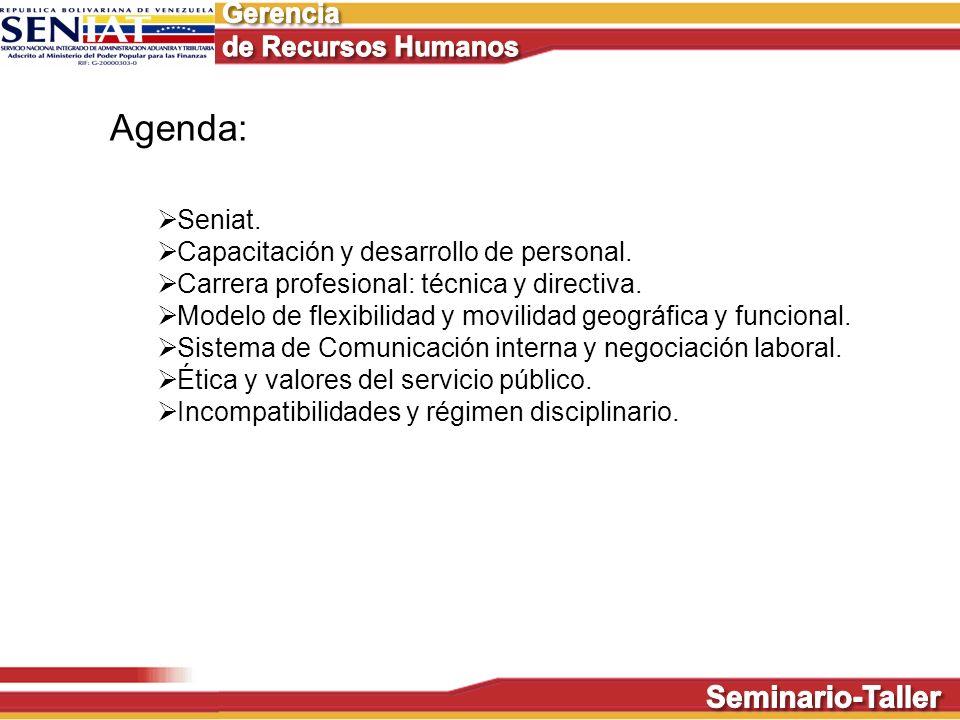 Agenda: Seniat. Capacitación y desarrollo de personal. Carrera profesional: técnica y directiva. Modelo de flexibilidad y movilidad geográfica y funci