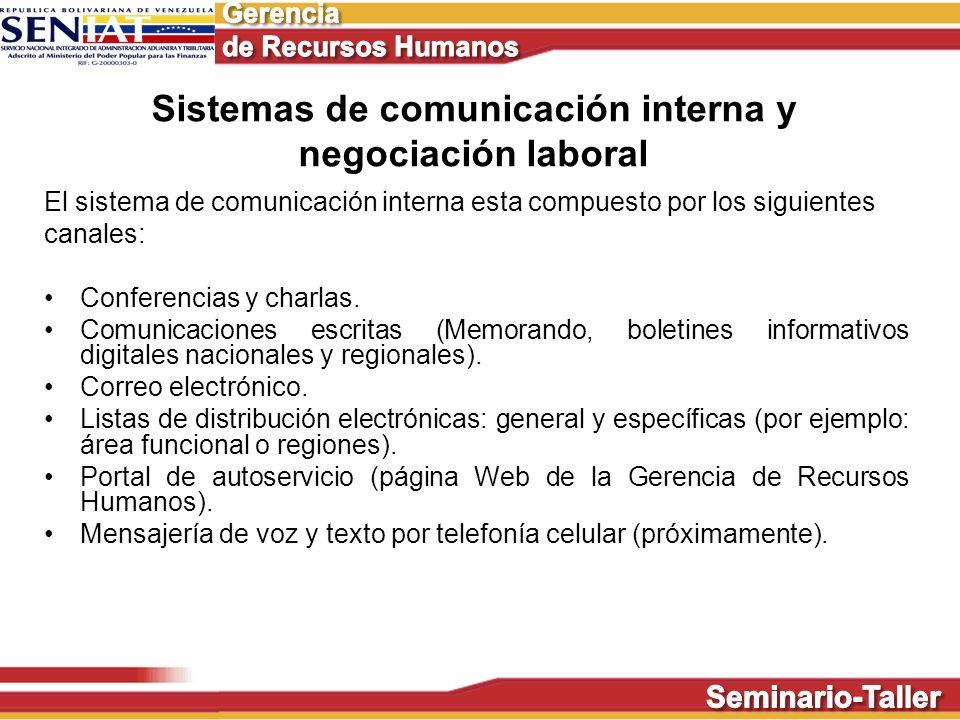 Sistemas de comunicación interna y negociación laboral El sistema de comunicación interna esta compuesto por los siguientes canales: Conferencias y ch