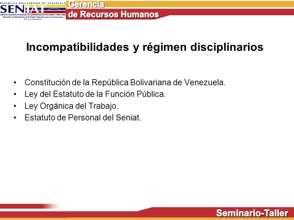 Incompatibilidades y régimen disciplinarios Constitución de la República Bolivariana de Venezuela. Ley del Estatuto de la Función Pública. Ley Orgánic