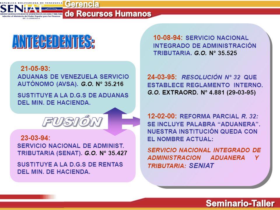 21-05-93: ADUANAS DE VENEZUELA SERVICIO AUTÓNOMO (AVSA). G.O. N° 35.216 SUSTITUYE A LA D.G.S DE ADUANAS DEL MIN. DE HACIENDA. SERVICIO NACIONAL DE ADM
