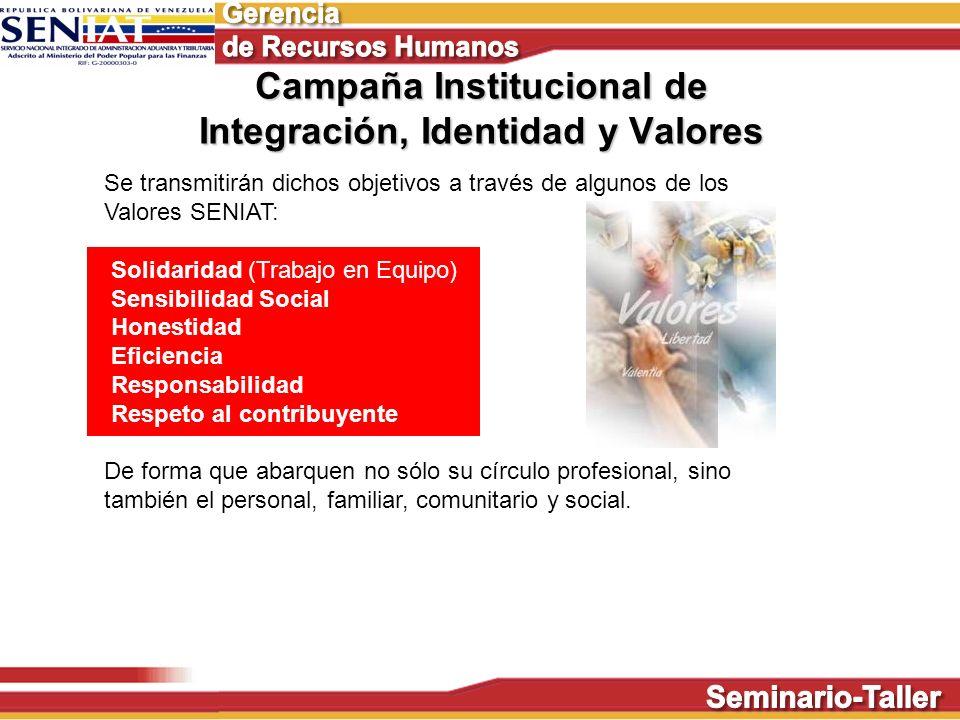 Campaña Institucional de Integración, Identidad y Valores Se transmitirán dichos objetivos a través de algunos de los Valores SENIAT: Solidaridad (Tra