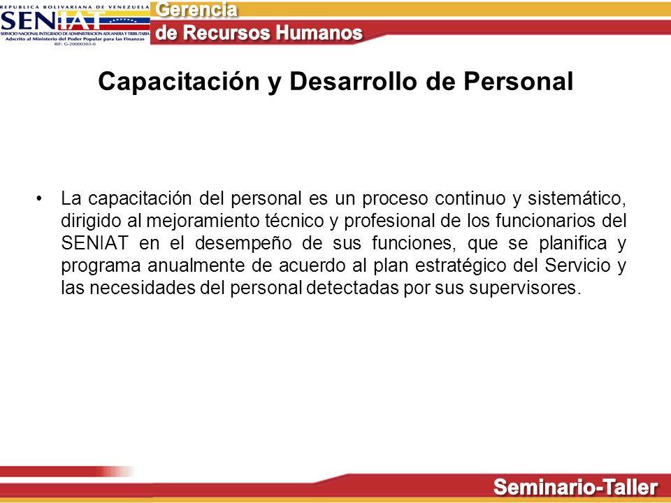 La capacitación del personal es un proceso continuo y sistemático, dirigido al mejoramiento técnico y profesional de los funcionarios del SENIAT en el