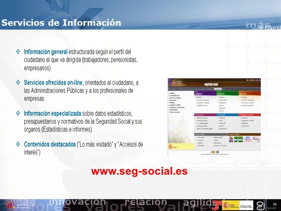 9 Índice 1.Información de contexto 2.Servicios de Información 3.Servicios Personales 4.Servicios Profesionales 5.Servicios para la Administración