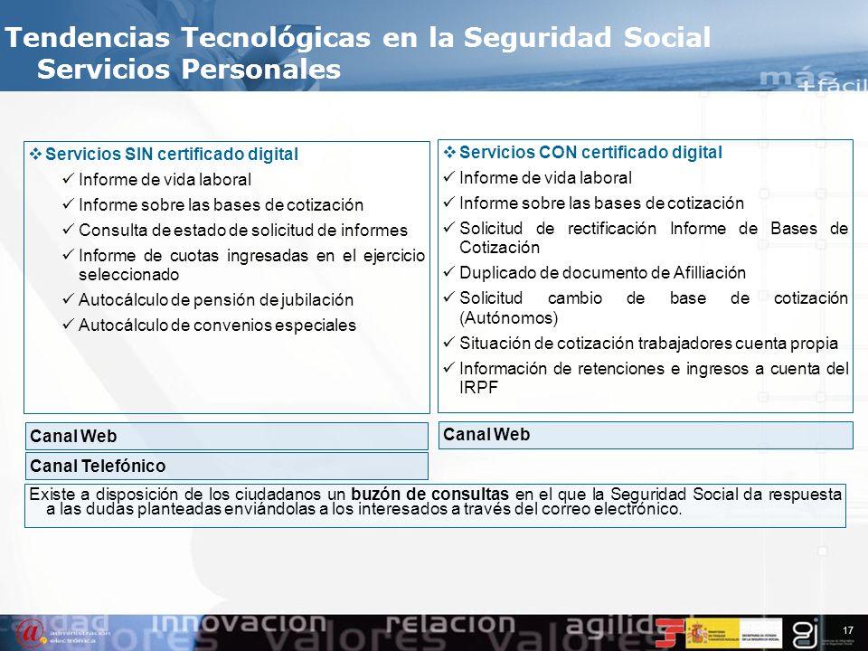 16 La Seguridad Social ofrece en Internet un conjunto de servicios al ciudadano que no requieren su personación en las Oficinas de la Seguridad Social