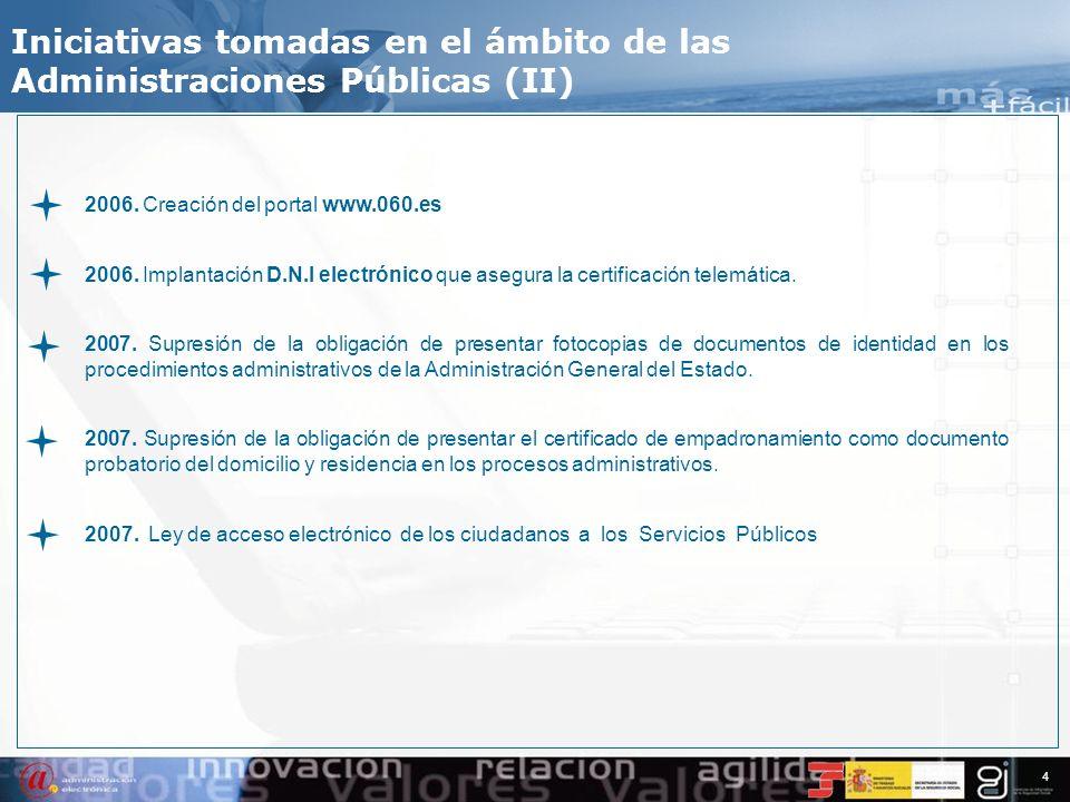 3 Iniciativas tomadas en el ámbito de las Administraciones Públicas (I) 1996. Real Decreto 263/1996. Regula el uso de técnicas electrónicas y telemáti