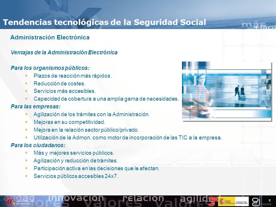 7 Tendencias Tecnológicas en la Seguridad Social Administración Electrónica Uso de la tecnologías en las Administraciones Públicas, combinado con camb